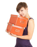 Orange boxes and girl Royalty Free Stock Photo