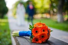 Orange bröllopbukettgerbera Arkivbild