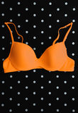 Orange bra on black and white polka dot background Royalty Free Stock Images