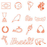 Orange brazil outline icons and symbols set eps10. Orange brazil outline icons and symbols set Royalty Free Stock Photography