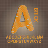 Orange Brick Alphabet Vector Royalty Free Stock Photo