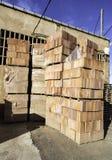 Orange brick pallet Royalty Free Stock Image