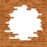 Orange Brick Wall Frame. Brick Wall / Brown-Orange Brick Surface with hole inside Royalty Free Stock Photo