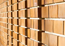 Orange brick wall perspective view Royalty Free Stock Photos