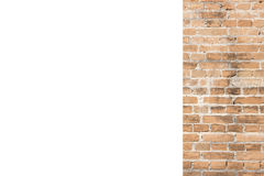Orange brick wall and white space background stock image