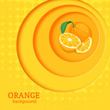 Orange bright background with circles on top of each other and citrus fruit orange. Stock Images