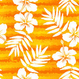 Orange bright flowers and painted stripes seamless Royalty Free Stock Photo