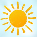 Orange bright sun icon with warm rays. Sunlight symbol is on blue sky background. Stock Illustration