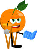 Orange with a broken leg walking on crutches Stock Image
