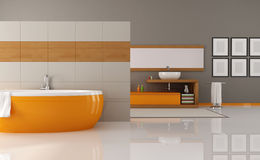 Orange and brown bathroom. Contemporary orange and brown bathroom - rendering Royalty Free Stock Photography