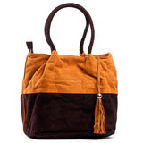 Orange and brown handbag Stock Photo