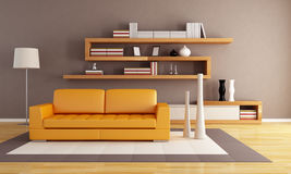 Orange and brown living room Stock Photography