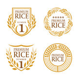 Orange brown paddy rice organic natural product banner logo vector design Royalty Free Stock Photography
