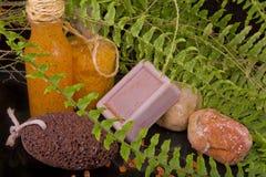 Orange-brown spa composition of natural soap, sea salt body scru Stock Image