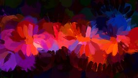 Orange brush strokes on black background. Vector version Royalty Free Stock Images