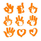 Orange brush strokes numerals-hands and heart Royalty Free Stock Photos