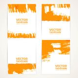Orange brush texture on  banner set 1 Stock Images