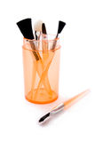 Orange brushes for make-up Royalty Free Stock Image