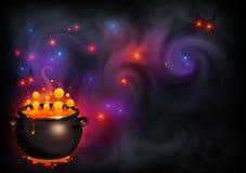 Orange bubblandehäxabrygd i svart kruka på mörk violett rök och magi tänder bakgrunden Vektorallhelgonaaftonaffisch stock illustrationer