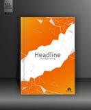 Orange Buchdesign in niedrigem Poly Jahresbericht Lizenzfreie Stockfotos