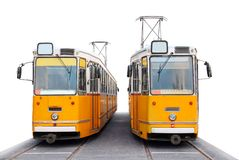Orange Budapest trams Royalty Free Stock Photography