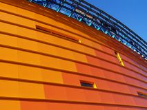 Orange building [1]. Orange building, blue sky Royalty Free Stock Image