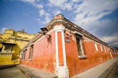 Orange Building. The corner of an orange building in antigua guatemala royalty free stock image