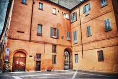 Orange building in Bologna Royalty Free Stock Photo
