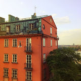 Orange building in the center of Stockholm Royalty Free Stock Photography