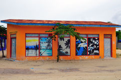 An orange building used as a shop stock photo