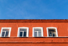 Orange Building and Windows and Sky Royalty Free Stock Photo