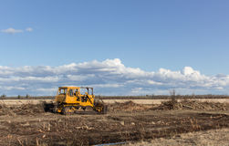 Orange bulldozer. Clearing bush in spring Royalty Free Stock Photos