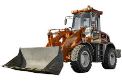 Orange bulldozer isolated on white with clipping path. Stock Images