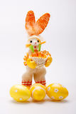 Orange bunny with eggs Royalty Free Stock Photography