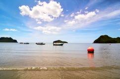 Orange buoy in the sea Stock Photo