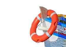 Orange buoy on white Stock Image