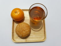 Orange. Burger and tea Royalty Free Stock Photos