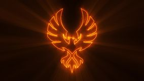 Orange Burning Phoenix Logo with Light Rays Loop Graphic Element