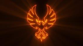 Orange Burning Phoenix Logo with Light Rays Loop Graphic Element. Glowing Orange Burning Phoenix Animated Logo Loop Graphic Element Background Backdrop
