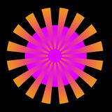 Orange Burst. A circular abstract fractal done in shades of orange and pink Stock Photo