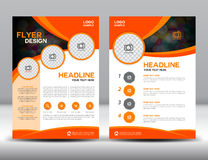 Orange business brochure flyer design layout template. In A4 size Stock Photography