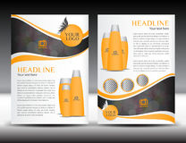 Orange business brochure flyer design layout template in A4 size. Magazine ads cosmetics booklet, advertisement, leaflet, poster, annual report, cover template Stock Photography