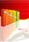 Orange Business Graph. 3d financial graph stat business background Stock Photo