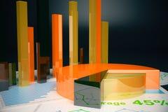 Orange business graphs. Voluminous orange business graphs on dark background. 3D Rendering Royalty Free Stock Images