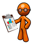 Orange Business Man Holding Bar Graph Stock Photos
