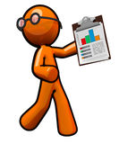 Orange Business Man Holding Bar Graph Royalty Free Stock Image