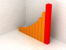Orange business statistics. 3d business statistics in 3d background with reflection on floor Stock Image