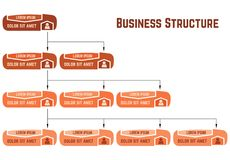 Orange business structure concept, corporate organization chart scheme with people icons. Vector illustration Stock Image