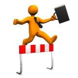 Businessman Steeplechase. Orange businessman with black case makes steeplechase Stock Image