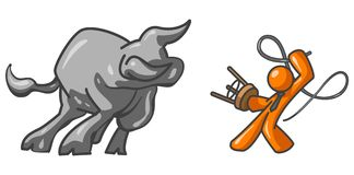 Orange Businessman Bull Tamer. Orange businessman character taming a bull.  Conceptual illustration for business Royalty Free Stock Photography